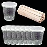 1Oz Plastic Graduated Cups with Lid 50pcs with Wood Stirring Bars for Mixing Paint, Stain, Epoxy, Resin