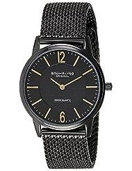 Stuhrling Original Men's 122.33551 Classic Ascot Somerset Elite Swiss Quartz Ultra Slim Black Mesh Bracelet Watch