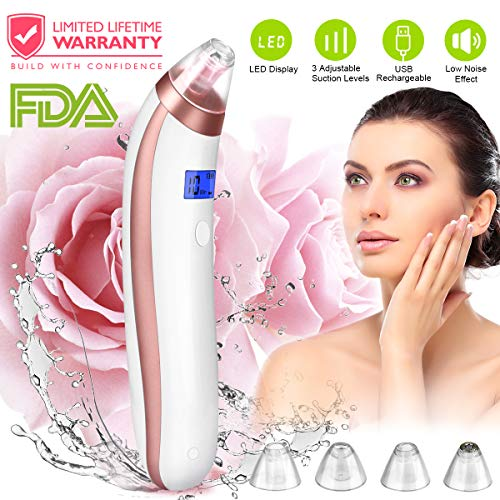 Blackhead Remover Blackhead Vacuum Suction Removal Skin Facial Pore Cleaner Electric Acne Comedo Extractor Tool Set Kit Comedone Microdermabrasion Extraction Device Machine for Nose Face Women & Men