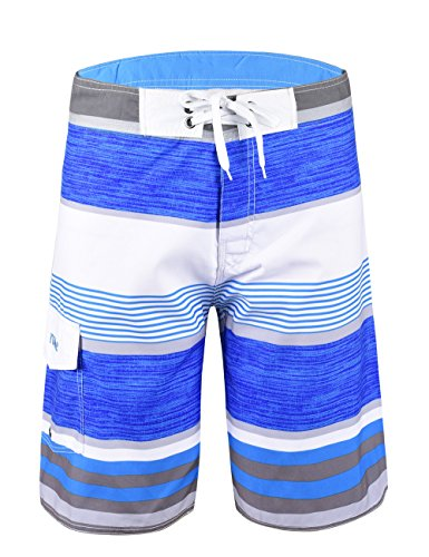 Nonwe Men's Tropical Stripe Beach Shorts Swim Trunks with Mesh Lining Blue Striped with White 38