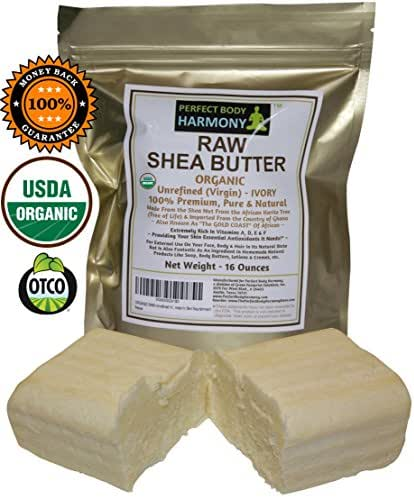 Real Certified Organic RAW SHEA Butter, Premium Unrefined African Ivory Tan/White Color; 16.0 oz [Two 8 oz Bars] in UV Protective Bag; Best Natural Moisturizer; Great for DIY Body Butters, etc.
