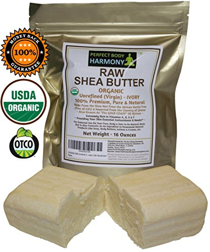 Real Certified ORGANIC RAW SHEA BUTTER, PREMIUM Unrefined African IVORY Tan/White Color; 16.0 oz [Two 8 oz Bars] in Gold UV Protective Bag. Best Natural Moisturizer; Great for DIY Body Butters, etc.
