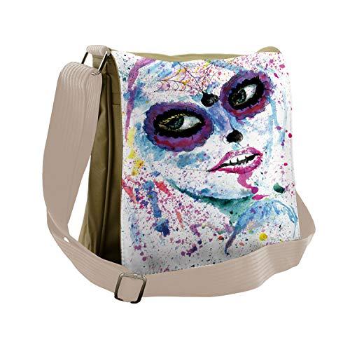 Ambesonne Ethnic Messenger Bag, Halloween Lady Make Up, Unisex Cross-body ()
