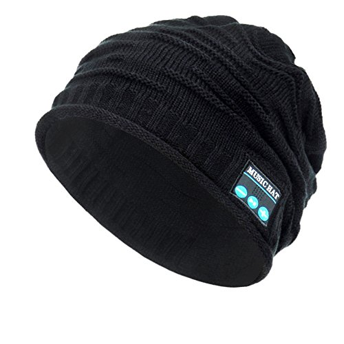 Wireless Bluetooth Beanie Hat ,Unisex Outdoor Sport Knit Hat with Rechargeable Detachable Stereo Speakers & Microphone,Unique Christmas Tech Gifts for Teen Young Boys Girls Men Women( Mz012-black)