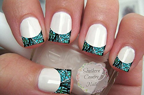 Amazon nail art decals french tip camo teal black beauty prinsesfo Image collections