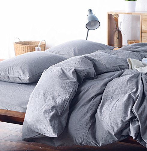 Washed Cotton Chambray Duvet Cover Solid Color Casual