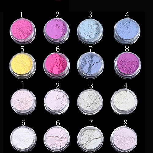 PRESTIGE NAIL DECORATIONS (10jars, Multi-Color Photochromic Pigment) Easy to apply on natural or artificial nails. Widely used in cosmetic, paint, coating, nail polish, plastic, fabric, etc...