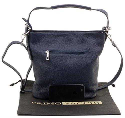 Protective Bag Grab Blue Leather Body A Shoulder Includes Italian Navy Storage Cross Sacchi Primo Textured Handbag Branded qgOR8Sg