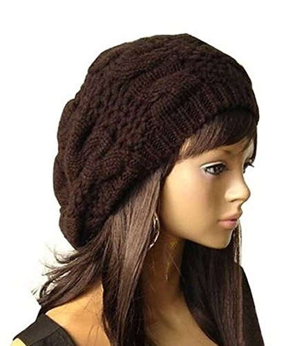 JOVANA New Arrival Top Fashion Winter Warm Women Lady Yong Girls Baggy Beret Chunky Knit Knitted Braided Beanie Hat Ski Cap Crochet Knitted Hat Knitted Crochet Oversized Slouch Hat for Women (Brown)