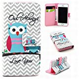 LEMORRY Apple iphone 5 5S Flip Case, [Stylish Series] Lovely Owl Soft TPU Cover + Premium PU Leather Wallet Folio Cards Stand Magnetic Strap Bumper Protection