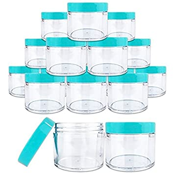 Beauticom 12 PIECES 60 Grams/60 ML (2 Oz) Leak Proof Round Acrylic Container Jars with Screw Cap Lids for Beauty Cosmetic Jewelry Charms Rhinestones (Clear Base with Teal Lids)