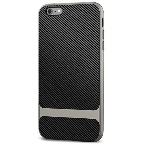 (JETech Case for iPhone 6s Plus and iPhone 6 Plus, Slim Protective Cover with Shock-Absorption, Carbon Fiber Design, Grey)