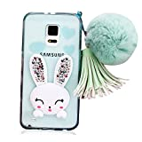 for Samsung Galaxy Note 4 N9100 Case,Shinetop Luxury Bling Diamond Glitter Crystal Clear Soft TPU Silicone Back Cover 3D Cute Cartoon Rabbit Bunny Case Protective Shell with Pompon Ball Pendent-Green