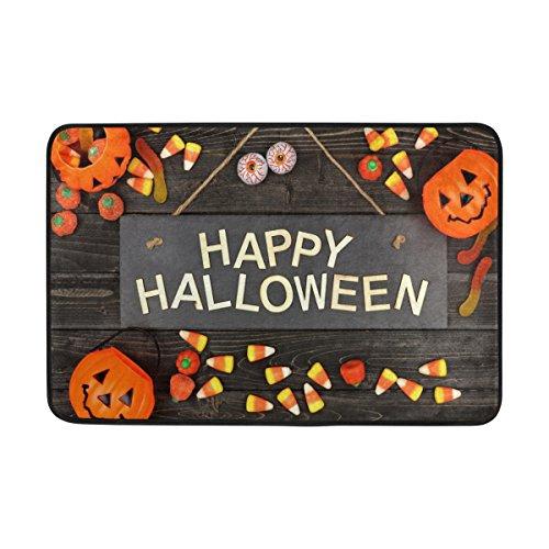 QQMARKET Black Wood of Happy Halloween Door Mat Indoor Outdoor Floor Entrance Door Mats 23.6 x 15.7 -