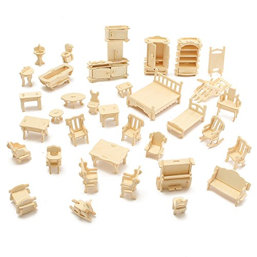 mtsugar Popular Wooden 3D Stereo Puzzle DIY Educational Pretend Play Furniture Toys Mini Miniature Figure Doll Household Furnitures Set Accessories Special Gifts for Children