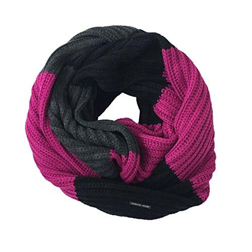 Bar Stripe Rugby - Michael Kors Women's Rugby Stripe Knit Infinity Scarf, Black/Fuchsia/Grey