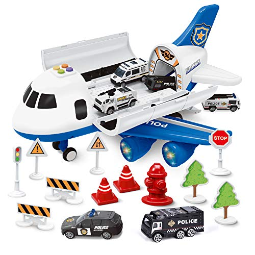 FUN LITTLE TOYS Airplane Toys with 6 Police Die-cast Toy Cars and Accessories, Police Airplane Play Vehicle Set for Kids…