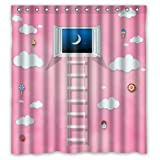 Cute Cartoon For Girls Pink World With Window Clouds And Candys Shower Curtain 66''x72'' New Waterproof Polyester Fabric Curtain