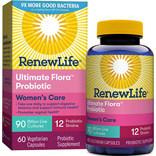 Renew Life Women's Probiotic - Ultimate Flora Probiotic Women's Care, Shelf  Stable Probiotic Supplement - 90 Billion - 60 Vegetable Capsules