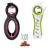 Multi Bottle Opener, 5-in-1 and 6-in-1, Can, Bottle, and Jar Openers, Twist Off Lid – Jar Opener for Seniors and Arthritic Hands, Seniors with Arthritis, Hand Weakness (2 pack)