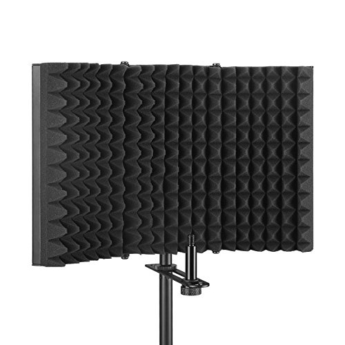 Aokeo Premium Microphone Isolation Shield, Foldable Adjustable Studio Recording Microphone Isolator Panel, Constructed with Industrial Quality Aluminum, High-Density Absorbing Foam Cotton (AO-403)
