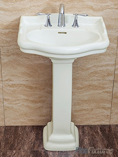 Fine Fixtures, Roosevelt Biscuit Pedestal Sink - 22 Inch Vitreous China Ceramic Material (8 Inch Faucet Spread Hole) (Sink Petite Bathroom Pedestal)