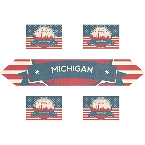 State Picnic Backpack Michigan (Vintage American Flag Michigan State Lansing Skyline Rectangle Table Runner 13 x 90 inch with Placemat Table Mat 12 x 18 inch Set of 6, for Wedding, Party, Dinner, Summer & Picnic Country Outdoor Home)