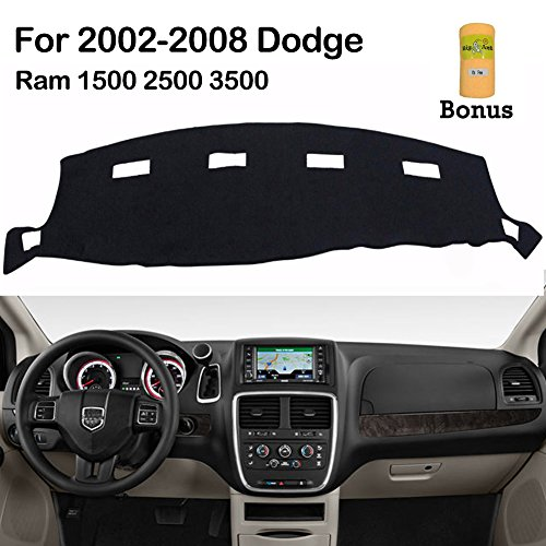 Dashboard Cover for Dodge Ram 1500 2500 3500 2002-2008 Black Carpet Dash Cover Mat, Custom Fit Dashboard Protector, Easy Installation, Reduces Glare, Eliminates Cracking