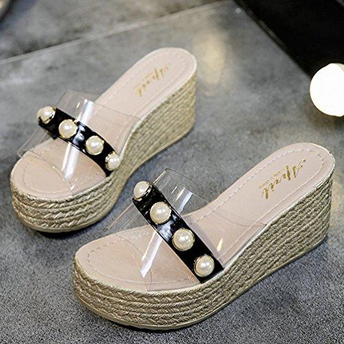 Noir Été Plateformes Talons Sandales Plage Hauts Perlé Transparent Femmes Compensées Chaussures Mules qzHwfPaf
