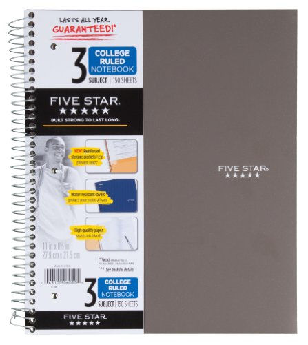 043100060505 - Mead 5 Star Notebook, 3 Subject College Ruled carousel main 2