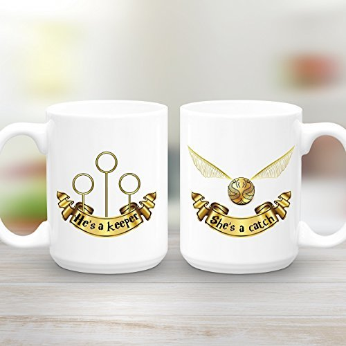 She's a Catch, He's a Keeper, Large, Mug Gift Set, Couples gift, Harry Potter Quidditch Coffee Mugs, 11oz, 15oz, gift