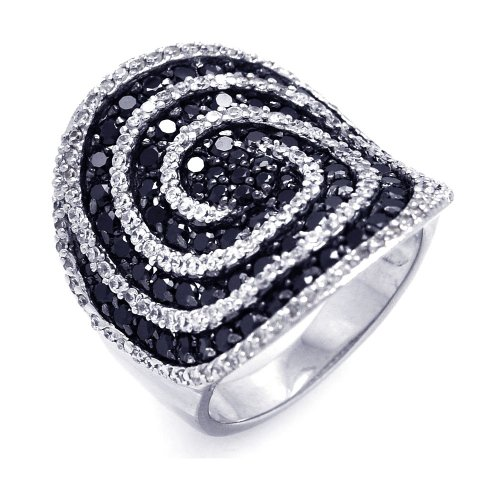 Sterling Silver Rhodium & Black Rhodium Plated Black & Clear CZ Cigar Band Spiral Ring Size 9 - Rose Gold Cigar Band Ring