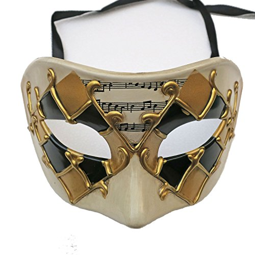 ZjpMask Exquisite Painted Music Antique Men Venetian Masquerade Mask Ball (Black Gold-2)