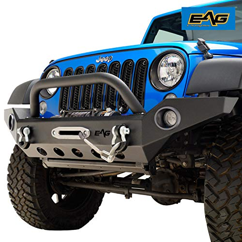 EAG Front Bumper with LED Lights & Winch Plate for 07-18 Jeep Wrangler JK