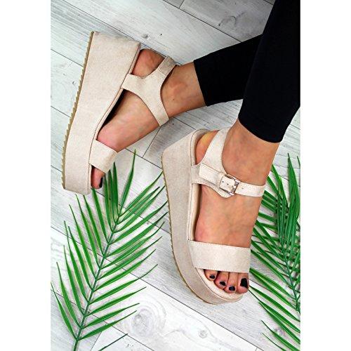 Heel Beige New Toe Platform Sandals High Comfy Peep Shoes Ankle Womens Wedge Strap x7wU7XO