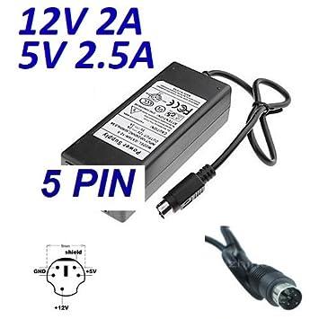 Cargador Corriente 12V 1.5A 5V 2.5A 5 PIN DIN Reemplazo Disco Duro DA-30C01 WD Elements WD5000E035-00 HDD Recambio Replacement