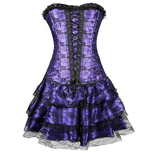 Kiwi-rata Womens Sexy Corset Burlesque Moulin Dress Witch Halloween L Purple (Sexy Witch Dress)