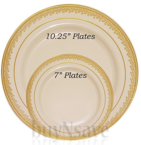 ... Disposable Plates Wedding Party Elegant Dinnerware Prestige Collection · Previous · / Next  sc 1 st  Compostable Plates & buyNsave Cream with Gold Heavyweight Plastic Elegant Disposable ...