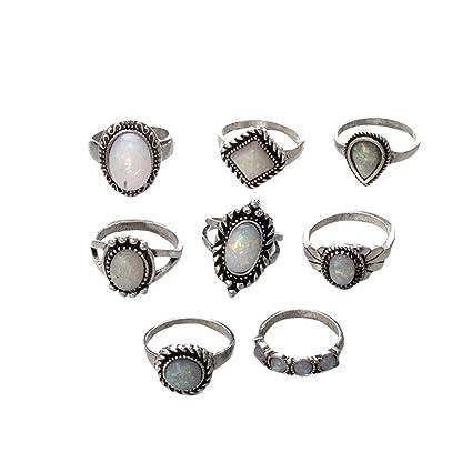 shop prezzo abbordabile qualità affidabile Watopi, Set da 8 Anelli per nocche in Stile Boho, con Opale ...