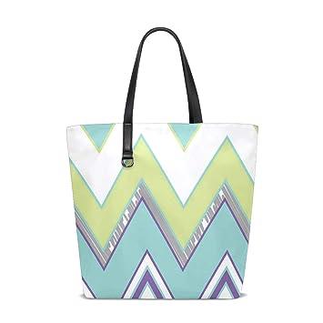 Amazon.com: Pastel Chevron Tote Bag Purse Handbag Womens Gym ...