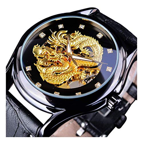 - Men's Dragon Collection Forsining Limited Luxury Carved Dial Golden Mechanical Waterproof Wrist Watch (Black)