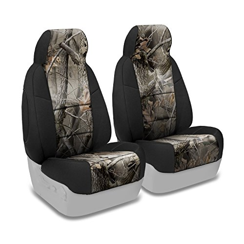 Coverking Custom Fit Front 50/50 Bucket Seat Cover for Select Ford Ranger Models - Neoprene (Realtree Hardwoods Camo with Black Sides)