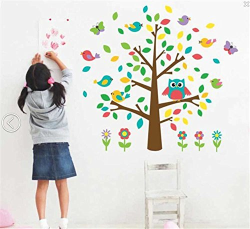 BIBITIME Nursery Wall Decal Big Tree Owl Vinyl Sticker Flying Singing Birds Purple Butterfly Colorful Flower Decor for Living Room TV Background Decorations ()