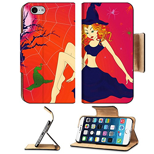 Liili Premium Apple iPhone 6 iPhone 6S Flip Pu Wallet Case IMAGE ID 32883701 Elegant Halloween girl with green eyes among sinister cobwebs and spiders in moonlight ni