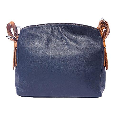 """B016 CUIR marron SAC Market Clair Leather EN VIVIANA"""" Bleu """" BANDOULIÈRE Foncé À Florence z87Ewwx"""