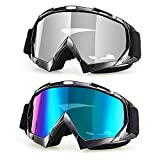 Flantor Motorcycle Goggles,Ski Snowboard with UV Protection Anti-fog Dual-lens Helmet Compatible for Tactical Shooting Motorcycling Cycling Skiing Snowboarding Winter Sports (2pcs)