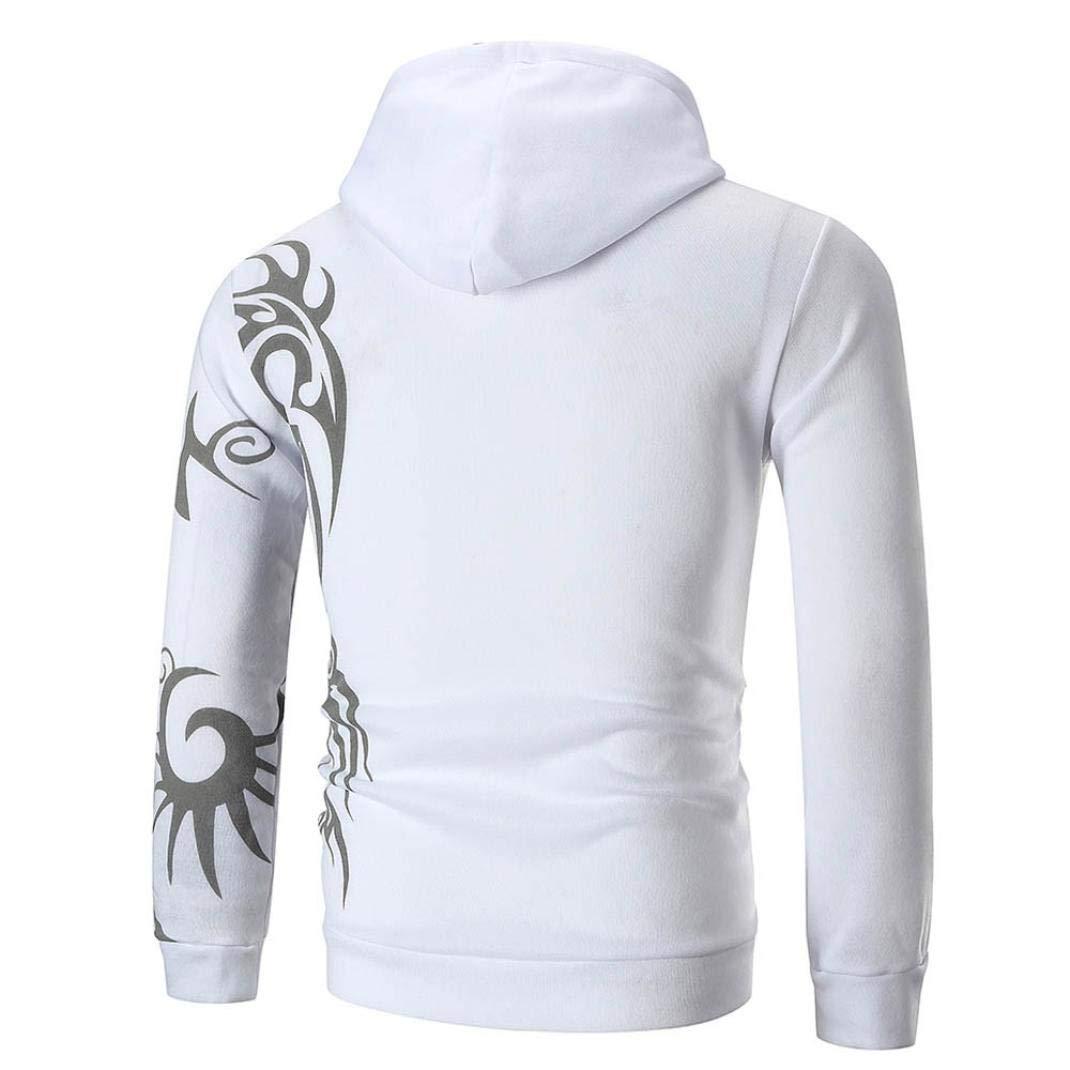 LANSKIRT Herren Langarm-Kapuzenpullover mit Kapuze Sweatshirt Top Tee Outwear Bluse