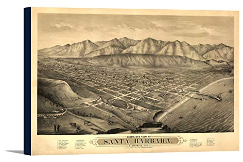 (Santa Barbara, California Panoramic Map #1 (36x23 3/4 Gallery Wrapped Stretched Canvas))