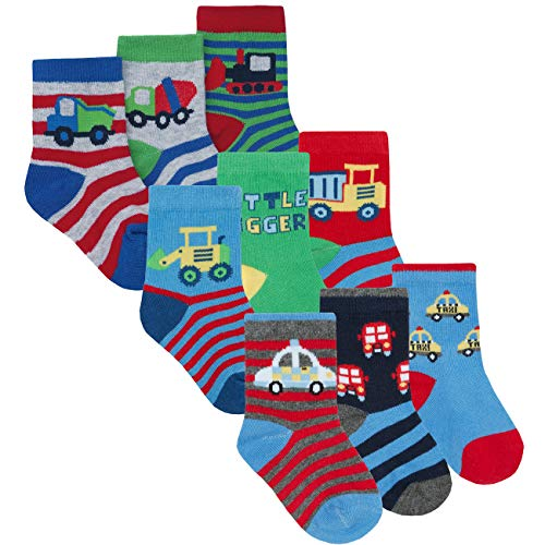 Price comparison product image Metzuyan Newborn Infant Baby Boys Socks Cotton Rich Novelty 9 Pairs Digger & Car & Truck 0-0