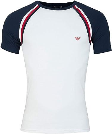 Logo tramo camiseta en blanco de Emporio Armani Underwear,GA pequeño logotipo impreso en el pecho,95